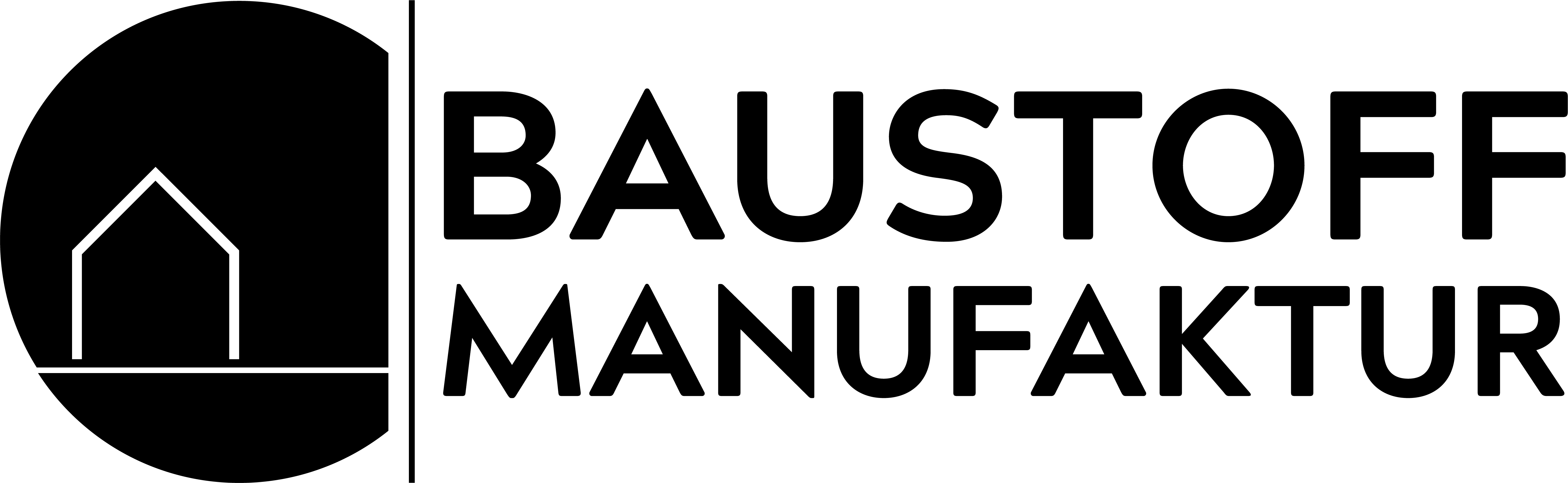 Baustoffmanufaktur steht für alte Baustoffe, Logo in schwarz